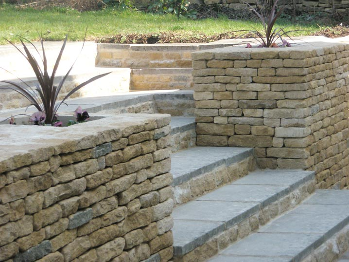 Dressed dry stone walling